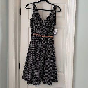 Nine West black & white polka dot a-line dress